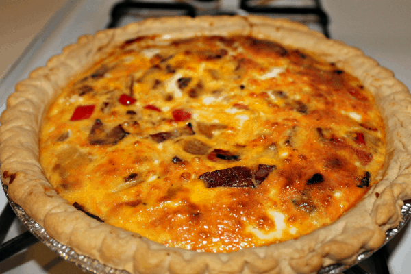 quiche from oven
