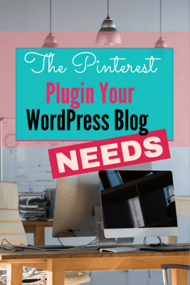 Desk with chair, computer, and pendant lights text box that states the pinterest plugin your wordpress blog needs