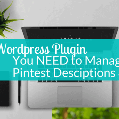 Computer and plant on desk top text Wordpress plugin you need to manage pinterest descriptions and SEO