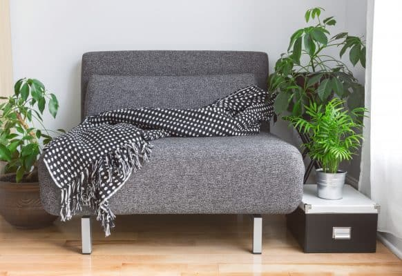 gray chair with a blanket on it surrounded by indoor plants
