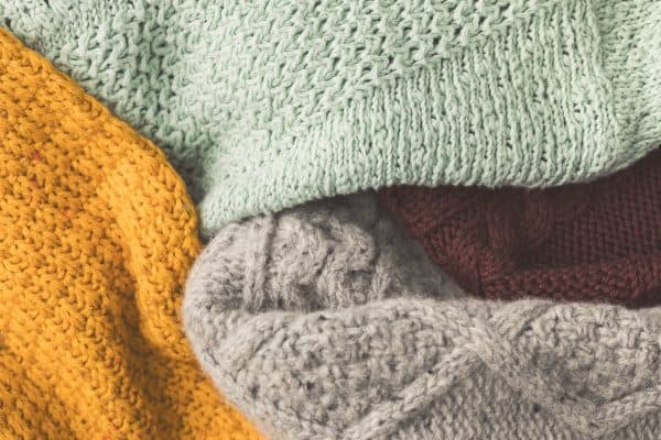 close up of cozy knit blankets