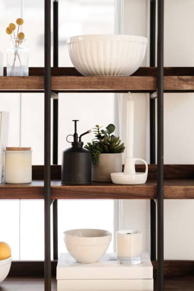 decorative bookshelves in a cozy living room