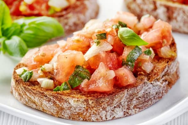 Baguette Slice topped with fresh easy bruschetta recipe