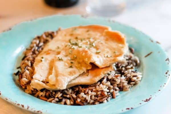 Easy Garlic Lime Chicken on a bed of wild rice