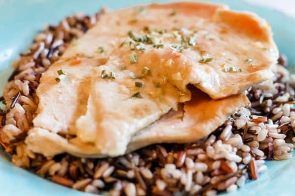 Garlic Lime Chicken on a bed of wild rice