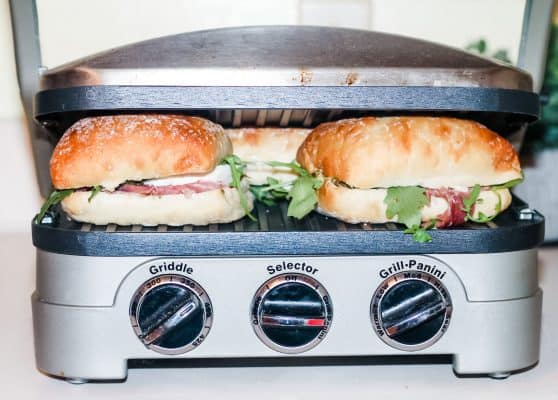 paninis grilling in a cuisinart panini press