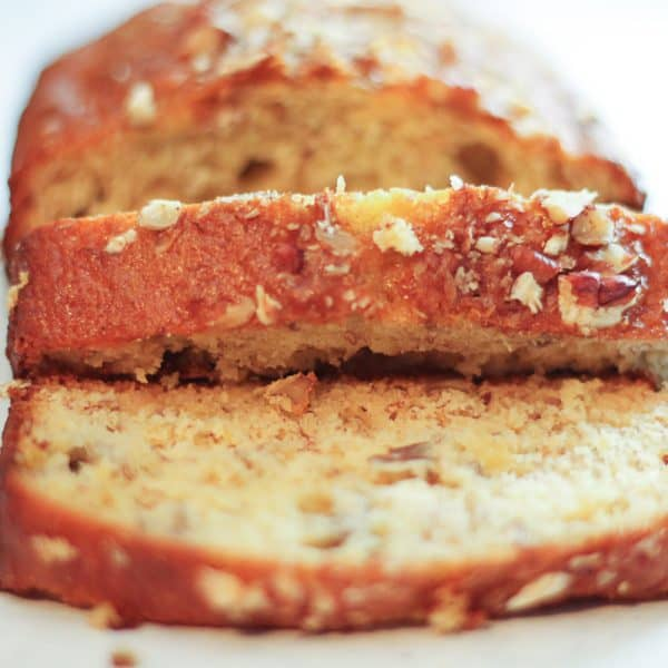 loaf of pecan banana bread sliced