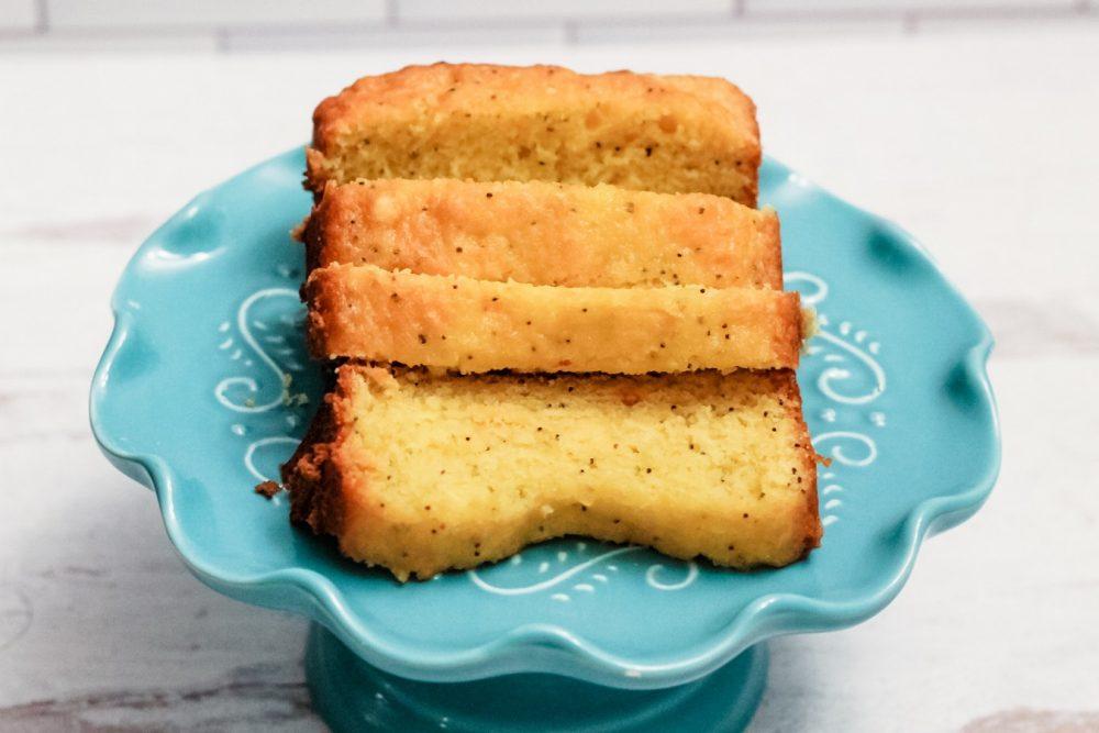Easy Lemon Poppy Seed cake on a cakestand