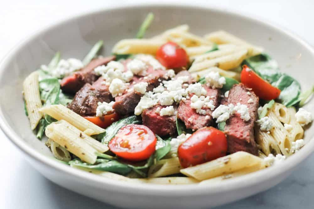 Steak Pasta with blue cheese in a bowl
