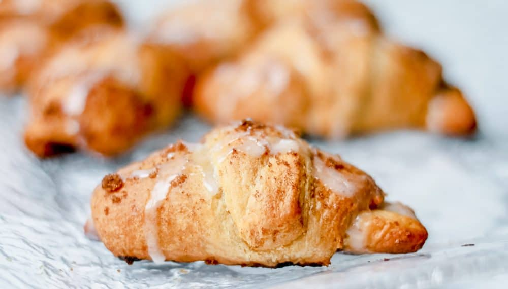 Cinnamon Roll Crescents on a Glass Tray