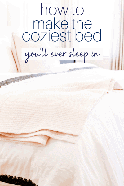 cozy bed with layers