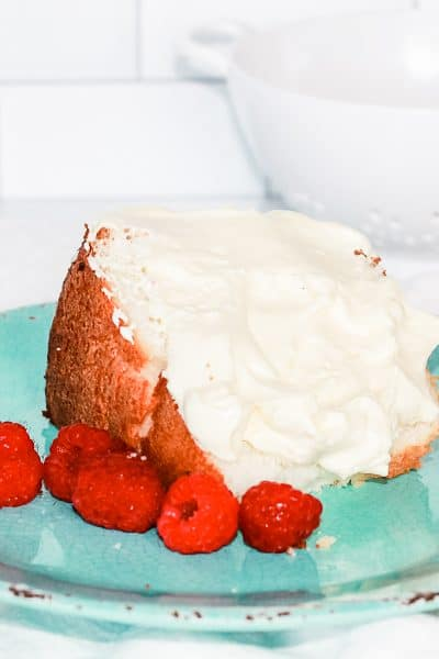 angel food cake with Bavarian cream and raspberries