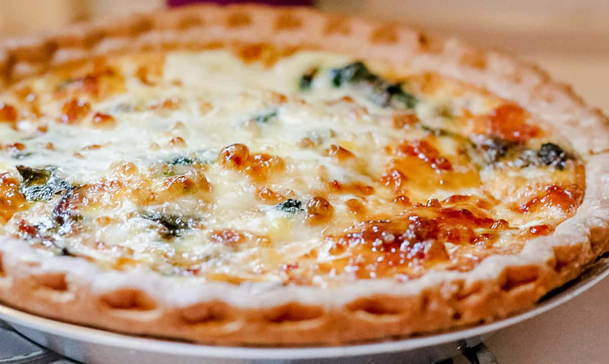 whole baked spinach and feta quiche