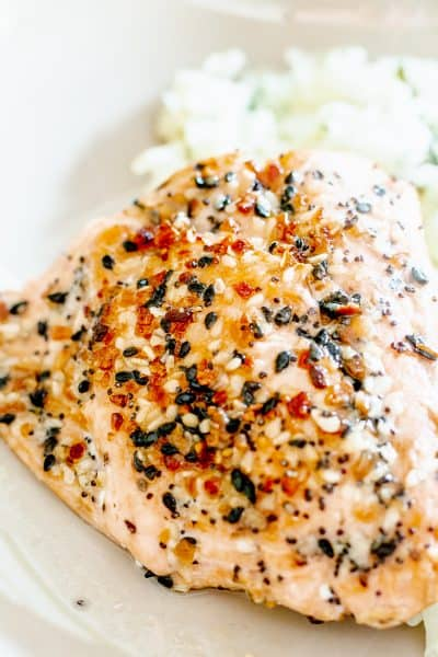 Up Close Photo of baked salmon with sesame seeds