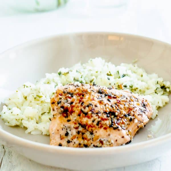 gray bowl with salmon and rice