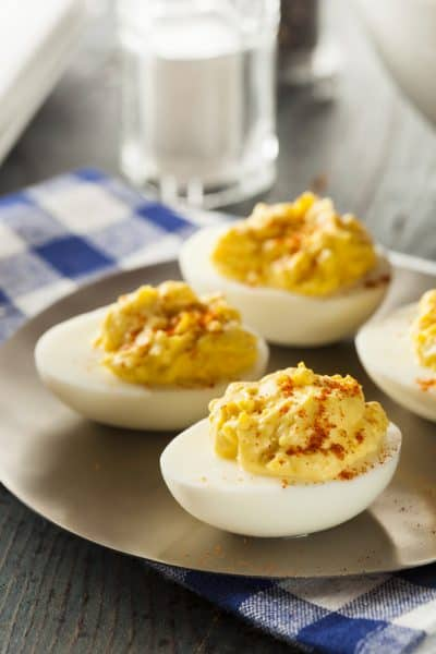 Healthy Deviled Eggs as an Appetizer with Paprika