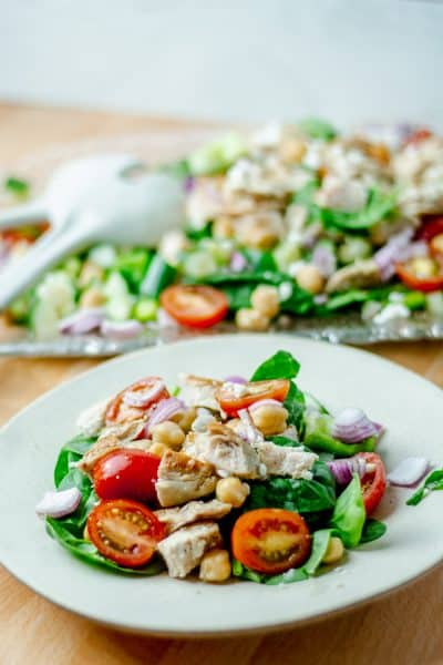close up of a plate of grilled chicken and chickpea salad with white wine dressing