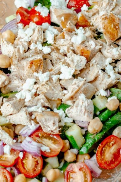 close up of chicken and chickpea salad with white wine vinaigrette