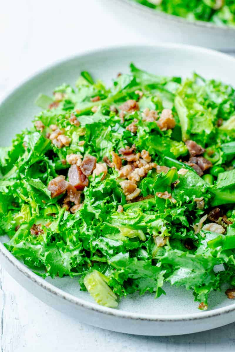 close up on endive salad with hot bacon dressing