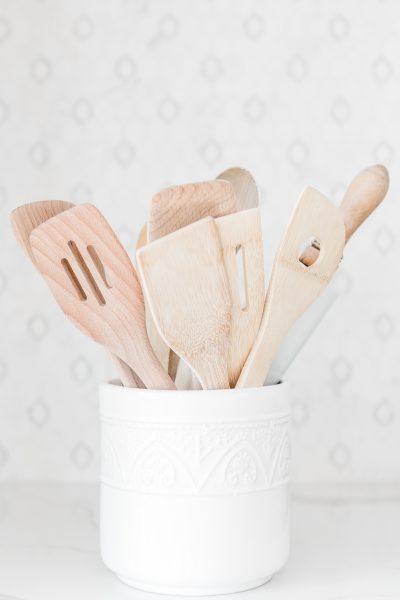 crock full of kitchen utensils