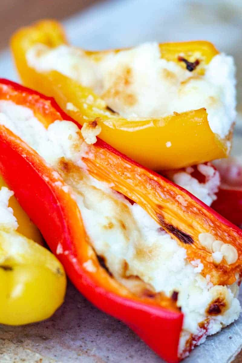 stack of goat cheese and honey stuffed mini peppers