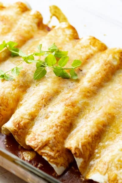 close up of chicken enchiladas with red sauce