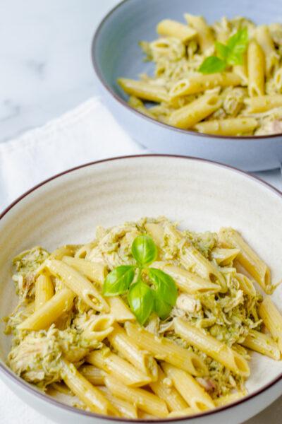 two bowls of chicken basil pesto pasta