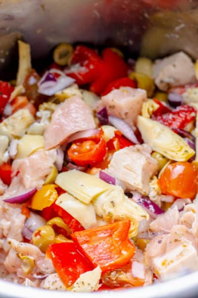 close up of uncooked greek chicken in an instant pot