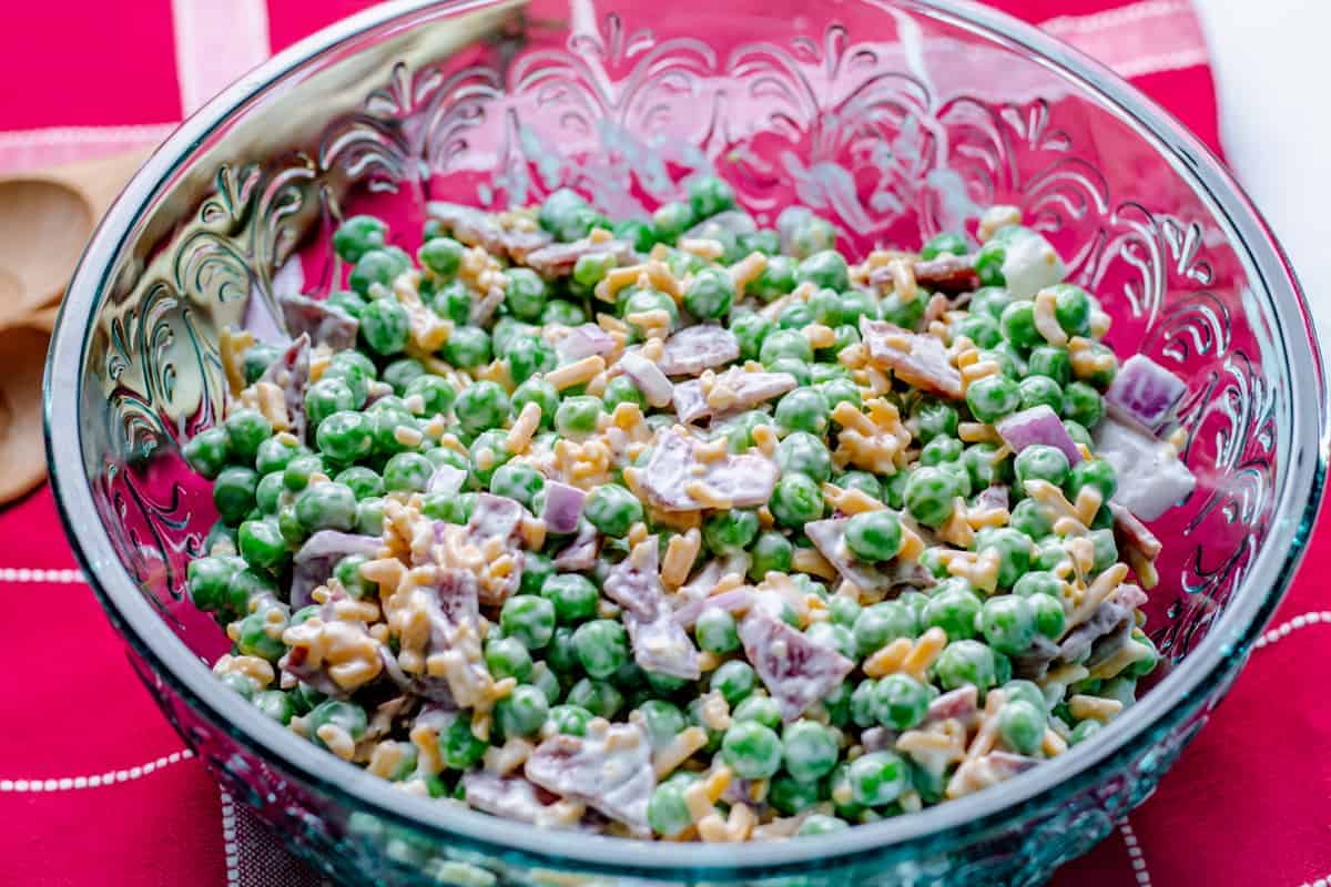 bowl of bacon pea salad