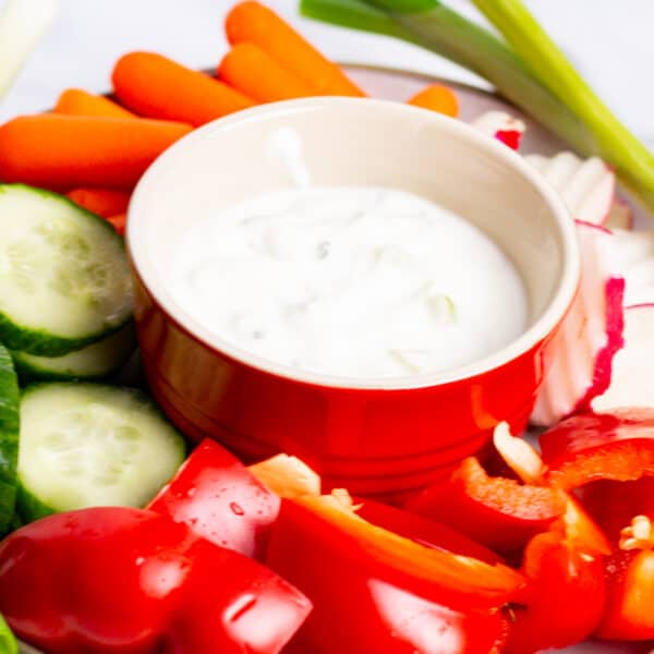 Tray of Greek Tzatziki Appetizer Dip and assorted vegetables
