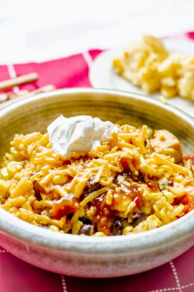 Southwest Chicken and Rice Bowl on a red placemat