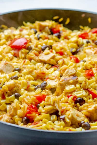 Close up of One Skillet Southwest chicken and rice bowl in a black skillet