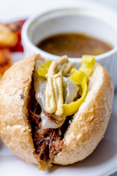 instant pot italian beef sandwich with au jous