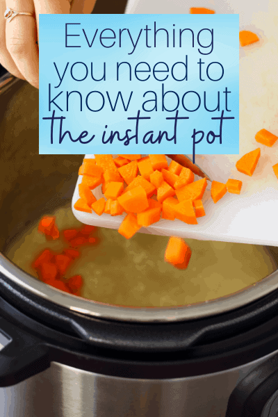 non descript hand scraping carrots into an instant pot