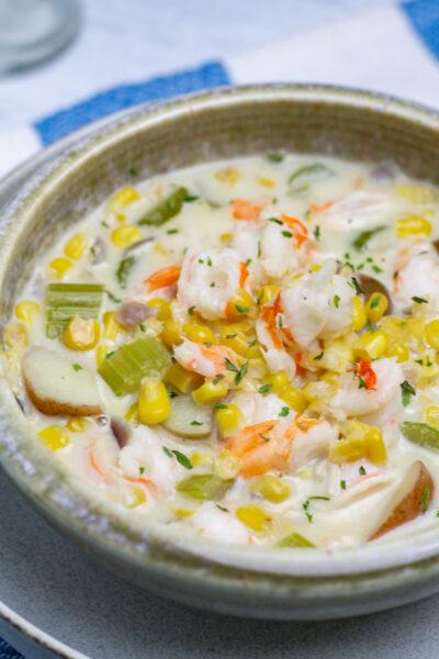 close up of a bowl of easy shrimp corn chowder