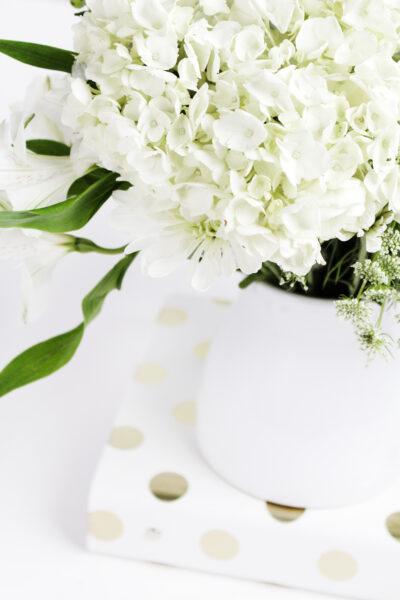 close up of hydrangias in a vase