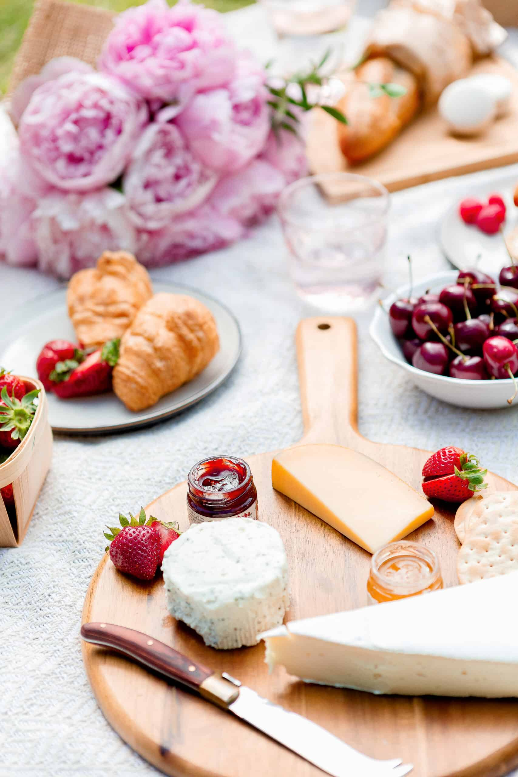 charcuterie board with cheese and fruit