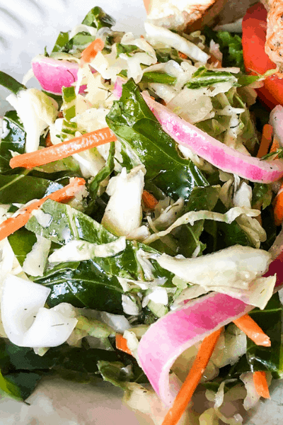 close-up of easy carolina coleslaw with kale and red onions