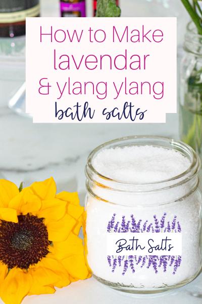 jar of lavender bath salts and a sun flower