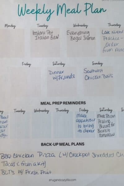 Example of Meal Planning Worksheet Filled out