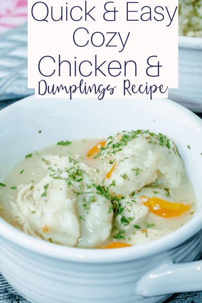 white crock bowl filled with easy chicken and dumpling soup